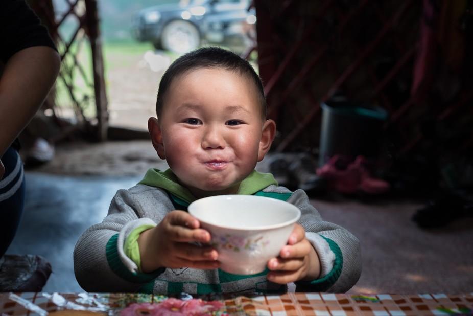 Kyrgyz Boy drinking Kumis