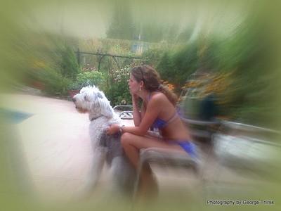 Rhonda and Heidi by the pool