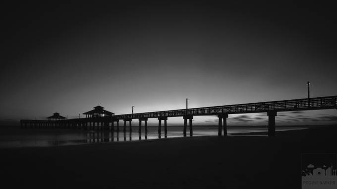 Night at the beach by reginebaeker - Structures in Black and White Photo Contest