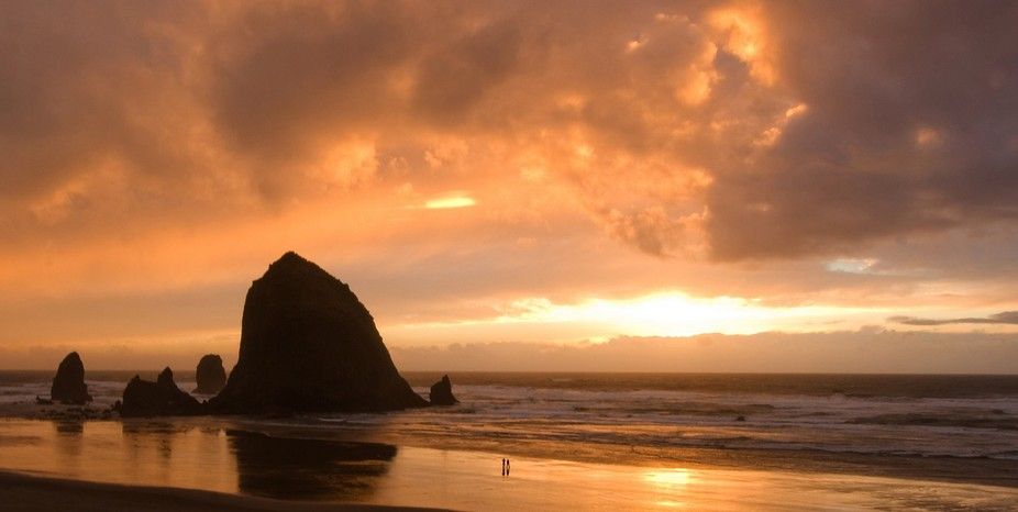 Romantic sunset at Haystack Rock on Oregon's Cannon Beach