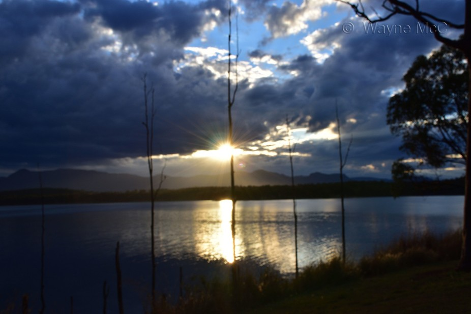 looking across Lake Moogerah at sunset