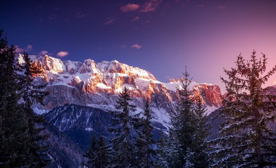 Dolomiti Winter Sunset