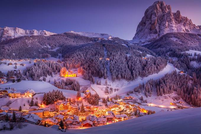 Santa Cristina Val Gardena Winter Sunset by Merakiphotographer