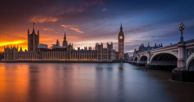 Big Ben Winter Sunset by Merakiphotographer