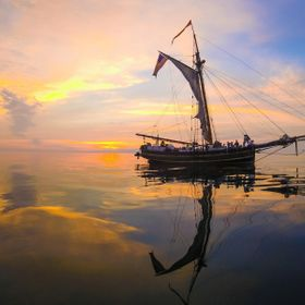Reflections of the replica sailing ship, Friends Good Will, in South Haven, Michigan. The sunset was fantastic, we were half a mile from this shi...
