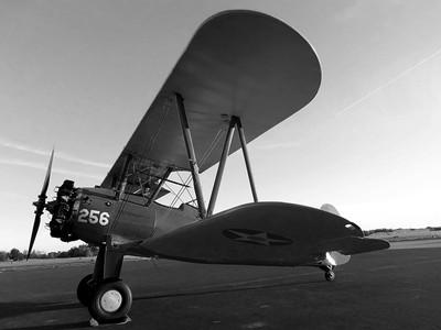 Black and White Preston Aviations Boeing Stearman 001