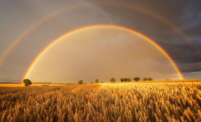 Tacolneston twin rainbows by PeteRowbottom - Rainbows Overhead Photo Contest