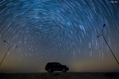 Star trails on a night out in the desert