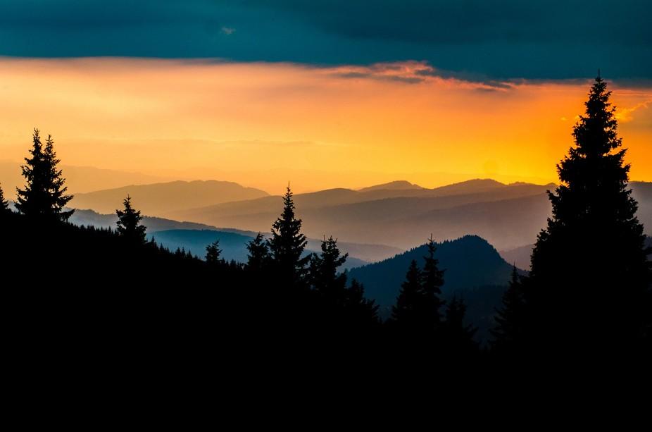 Sunset at Prislop Romania