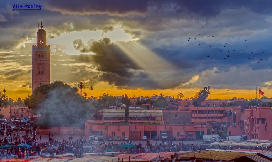 Marrakech market on sunset