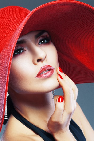 beautiful woman in red hat