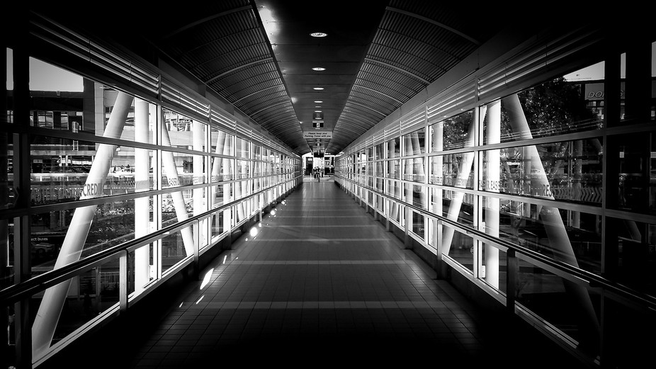 Connecting walk bridge to Melbourne Airport.