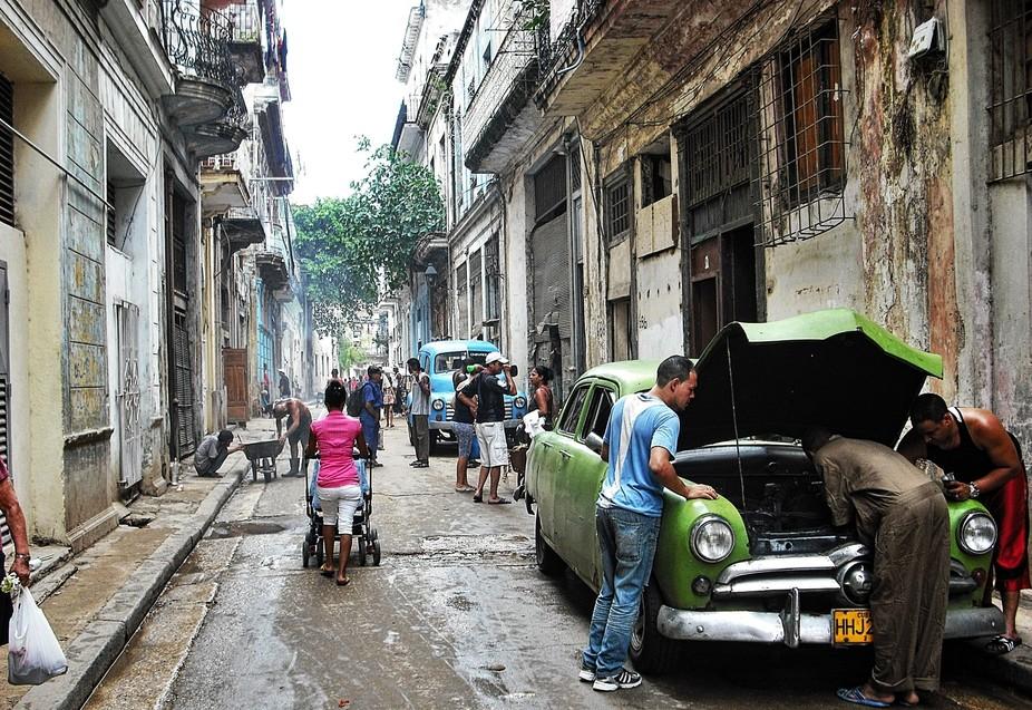 Point of view of street in Havana Cuba