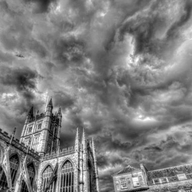 I captured these swirling storm clouds while visiting the city of Bath, England and processed the image in black & white to enhance the dramatic effect.