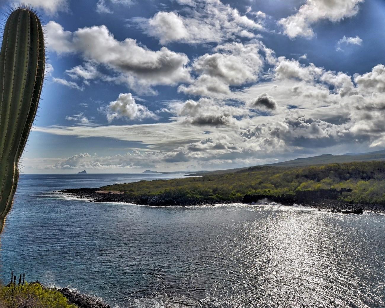 View of the archipelago of volcanic islands from Puerto Baquerizo Moreno on San Cristobal Island.