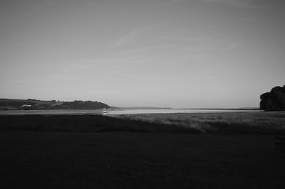 Laugharne Estuary at sunset-moonrise.