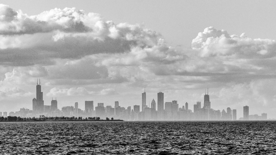 Chicago Skyline from Whiting Park in Whiting,IN. It was raining for most of the day and then all ...