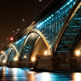 A new angle and exposure of the colorful Peace Bridge at night!   © Christopher Behrend Photography