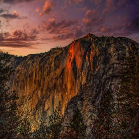 "Horsetail Falls in Yosemite National Park only portrays this magical ""fire fall"" glow for a few days in February under certain conditio..."