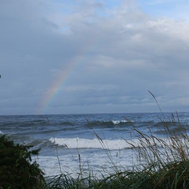 Rainbow Over Crashing Waves - Qualicum Beach, Vancouver Island 2014