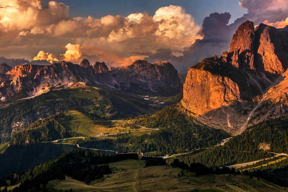 A beautiful evening looking down on the Sella Pass with a magical sunset following a typical Dolomites summer storm.