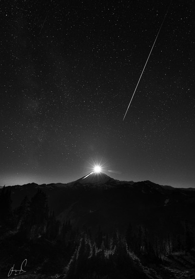 Moonset Over Mt Baker During the Perseids Meteor Shower
