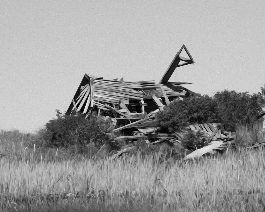 Picture take of an old barn that collapse.