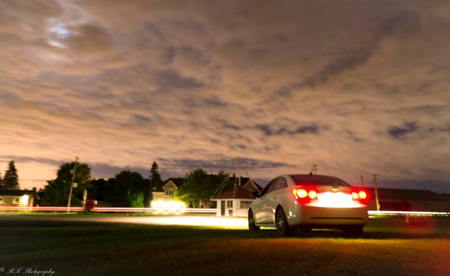 This shot captured in late night in front of strawberry farm In Quebec, Canada.