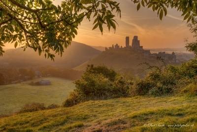 Golden Light on a Misty Corfe Castle