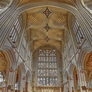 Composed of 15 merged images, this HDR vertical panorama shows the fan vaulting and stained glass at the eastern end of the abbey.