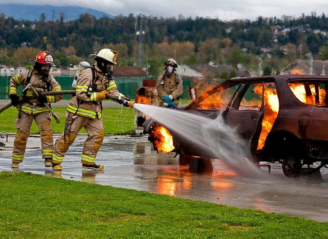 Live fire training on the car fire prop at Skagit County Fire Training Academy