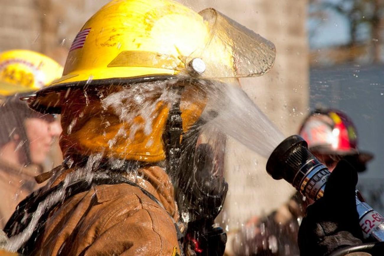 Decontamination training at Skagit County, WA fire academy