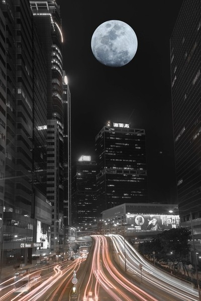 light trail & full moon