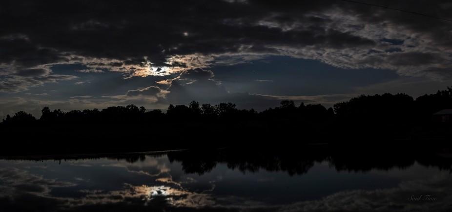Pano Moonlit Cloudy Sky