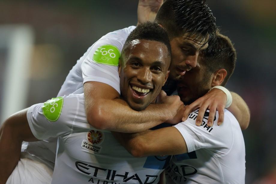 Harry Novillo and Bruno Fornaroli know how to celebrate a goal