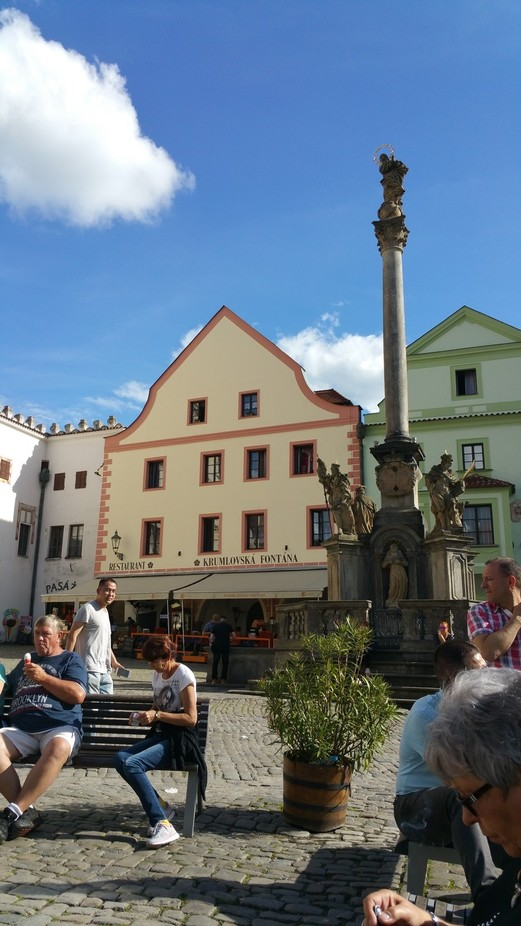 This is part of the  town square in Cesky Krumlov in the Czech Republic