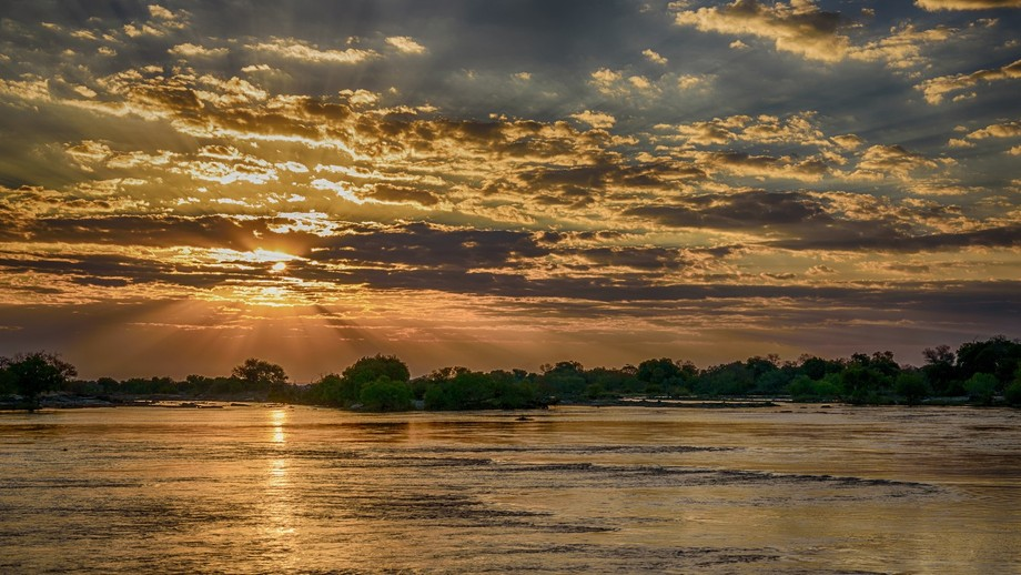 Sunset over Zambezi River, Africa HDR