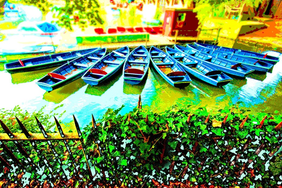Rowing boats for hire. Moored below Folly Bridge in Oxford, UK