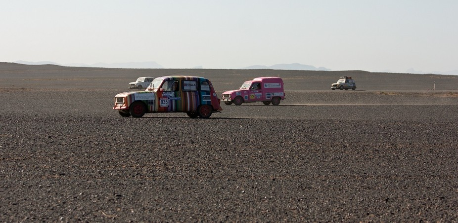 We were in the Sahara in Morocco when we came across the Renault 4 rally.