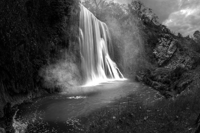Waterfall of a fairytale in BW