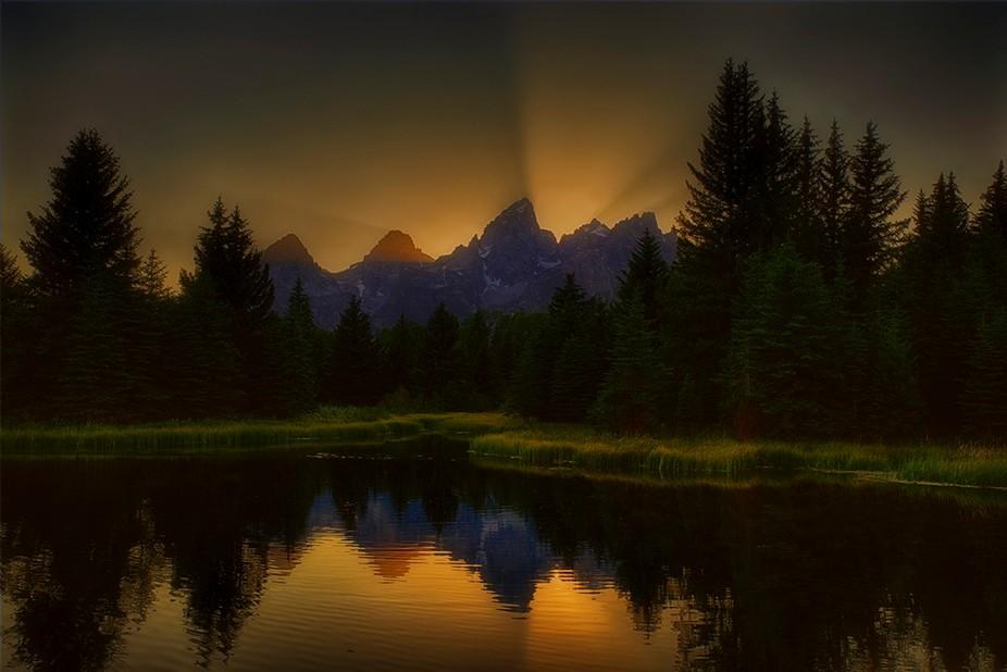 Grand Tetons Sunset over pond.