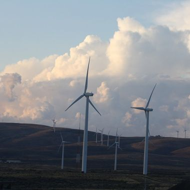 Summer storm building up in Eastern Washington with the wind turbines.