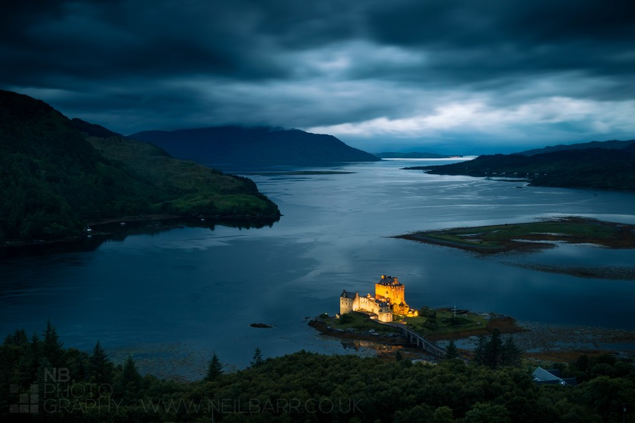 Eilean Donan Castle at Dornie, Loch Alsh and in the far distance the Skye Bridge.