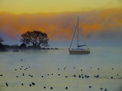 Misty Morning at Taupo.