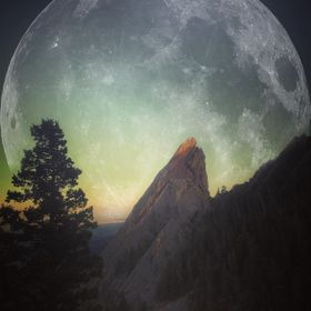 Continuation of my moon theme.   This is two separate images blended together in post-processing with Photoshop. The shot of the Flatiron was tak...