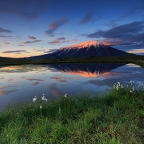 Dawn by a pond near the Tolbachick Volcano in Kamchatka Peninsula, Russia
