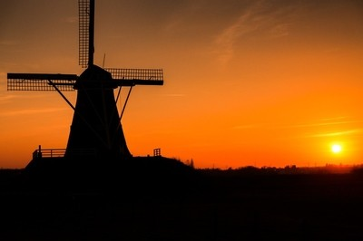 silhouette mill @ sunset