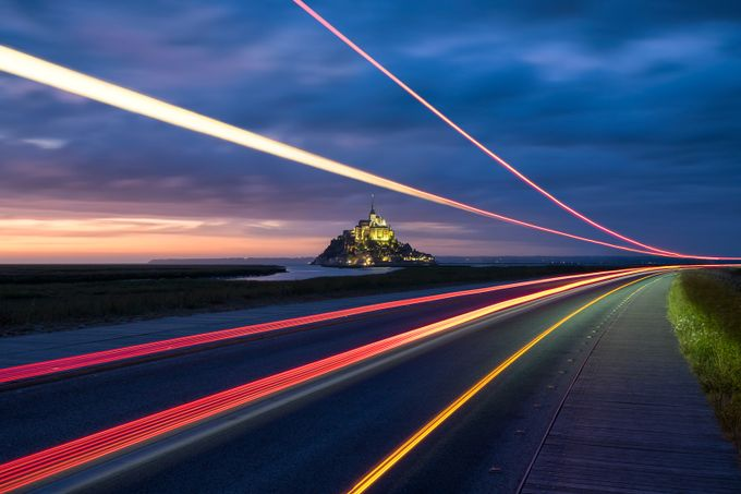 Mont Saint Michel light trails by patrice-vallet - Enchanted Castles Photo Contest