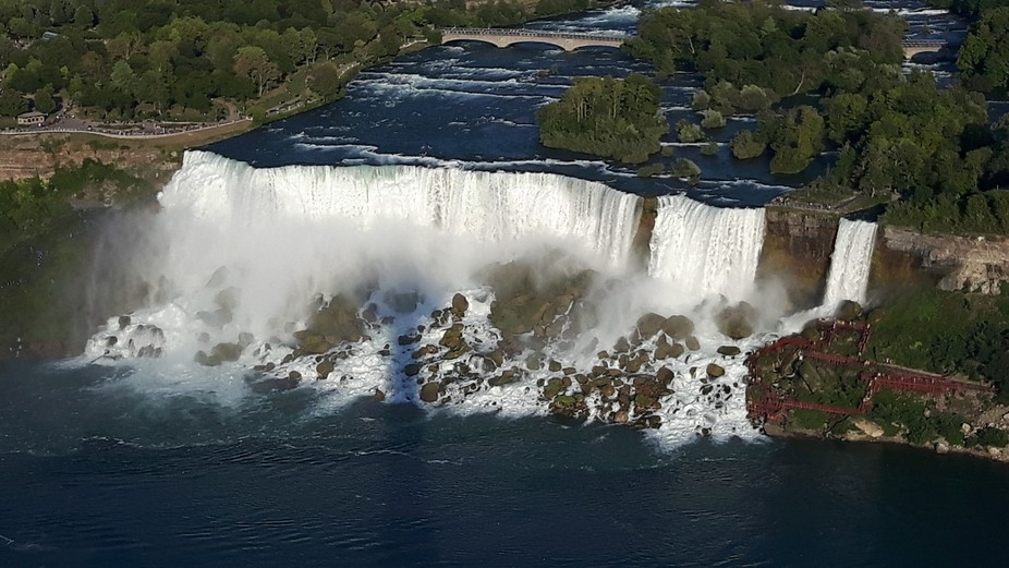 American side of niagara falls from 200 ft above