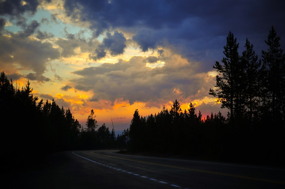 Saw the most beautiful sunset in Yellowstone, beauty is around every bend of the road.